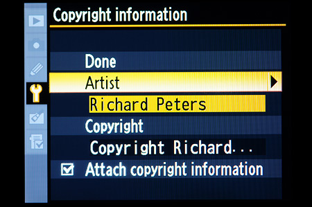 Set Artist and Copyright in Copyright menu