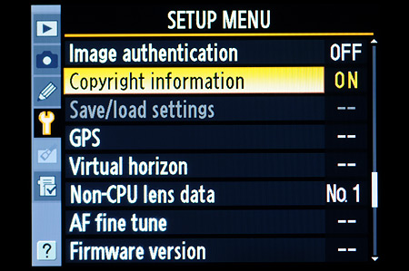 Copyright settings found in Setup Menu on Nikon DSLR