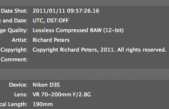 Copyright info shown in Nikon View NX2
