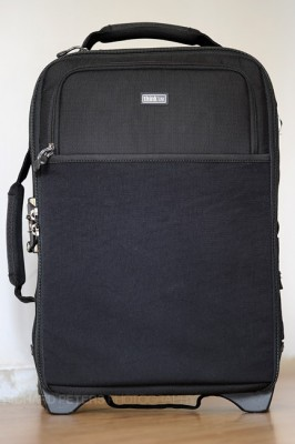 Front view of the Airport International, showing the secondary pocket and stretchy laptop pocket.