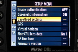 Load Save is located inside the Setup Menu on the Nikon D3s, as well as many other Nikon DSLRs