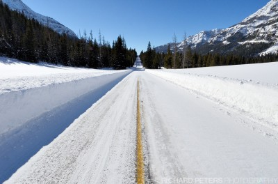 Ice covered roads in Yellowstone. These can be even more dangerous after snowfall.