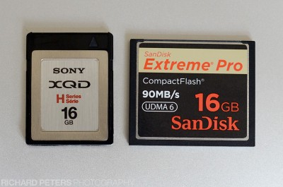XQD and compact flash side by side