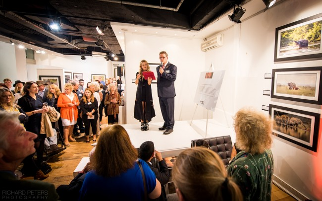 Will Travers OBE addressing the Remembering Elephants exhibition